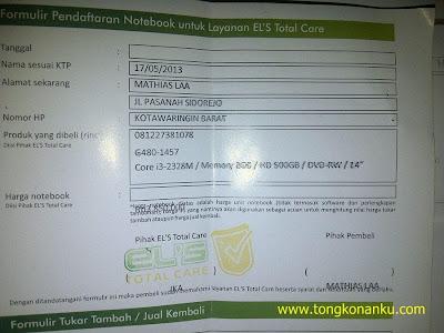 Formulir Pendaftaran laptop untuk layanan ELS Total Care Jogja