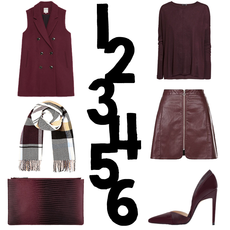 Zara, H&M, River Island, New Look, Whistles Burgundy