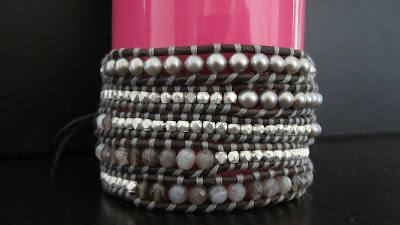 DIY: How to make Chan Luu style 5 wrap bracelet - Botswana Agate Mix Wrap Bracelet with Sterling Silver on Natural Grey Leather craft