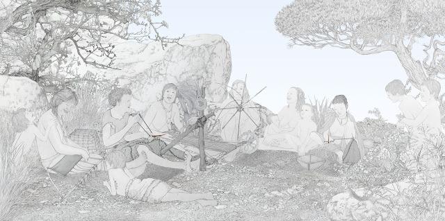 trenzar, urdir, coser, grupo humano, mujeres,  prehistoria, dibujo