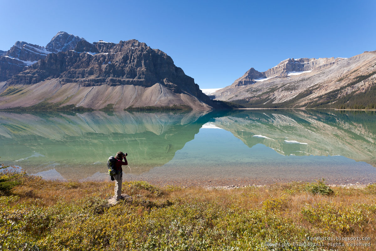 Reflections on Bow Lake Jasper and Banff National Park Canada Alberta