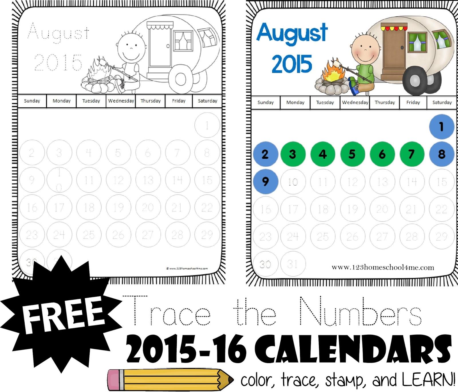 Calendar Numbers Printables Preschool : Trace the numbers calendar free