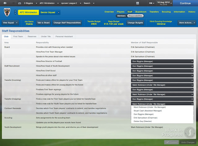 Staff (Members) Screen In Football Manager 2013