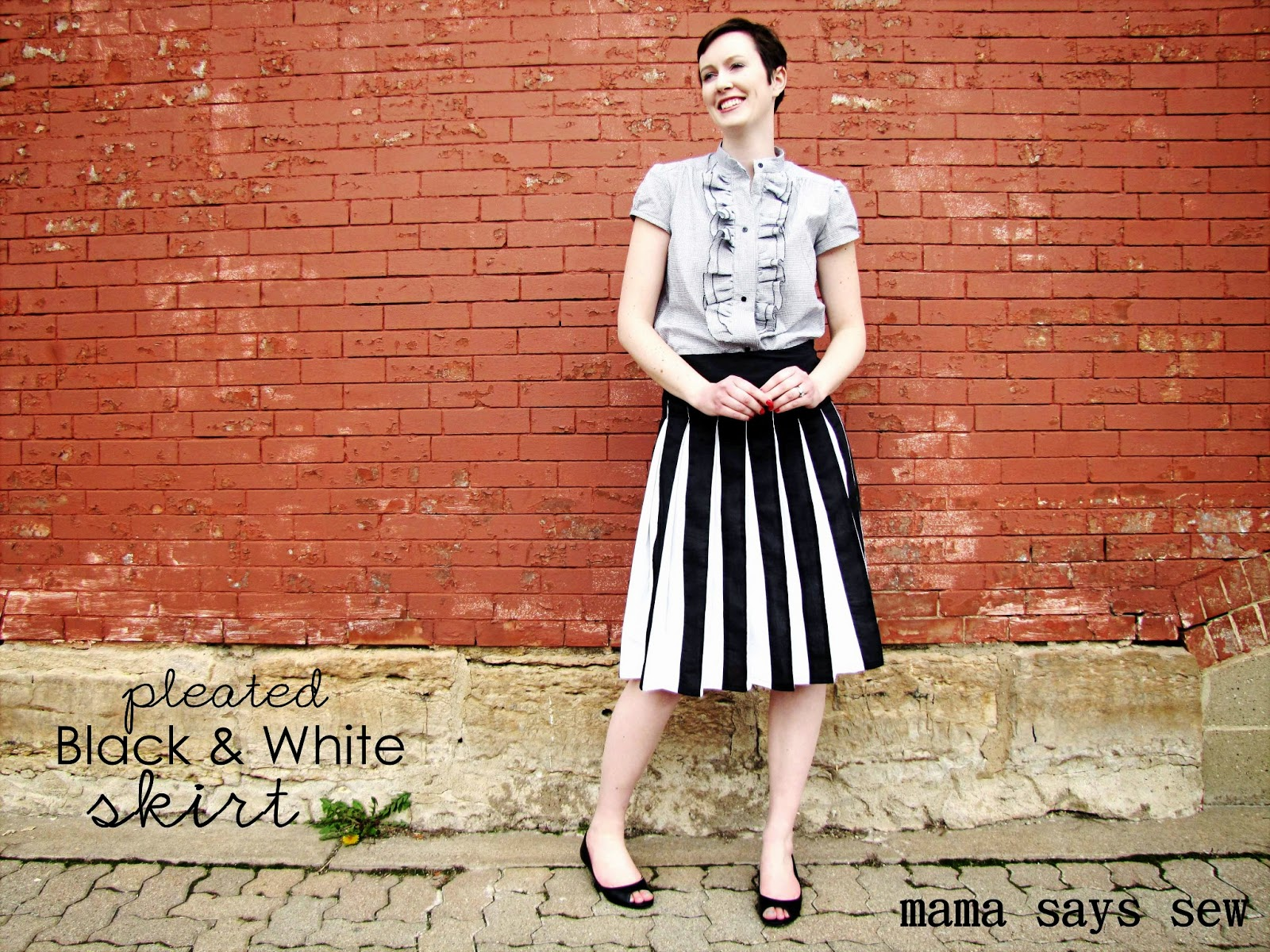 mama says sew pleated black white skirt tutorial. Black Bedroom Furniture Sets. Home Design Ideas