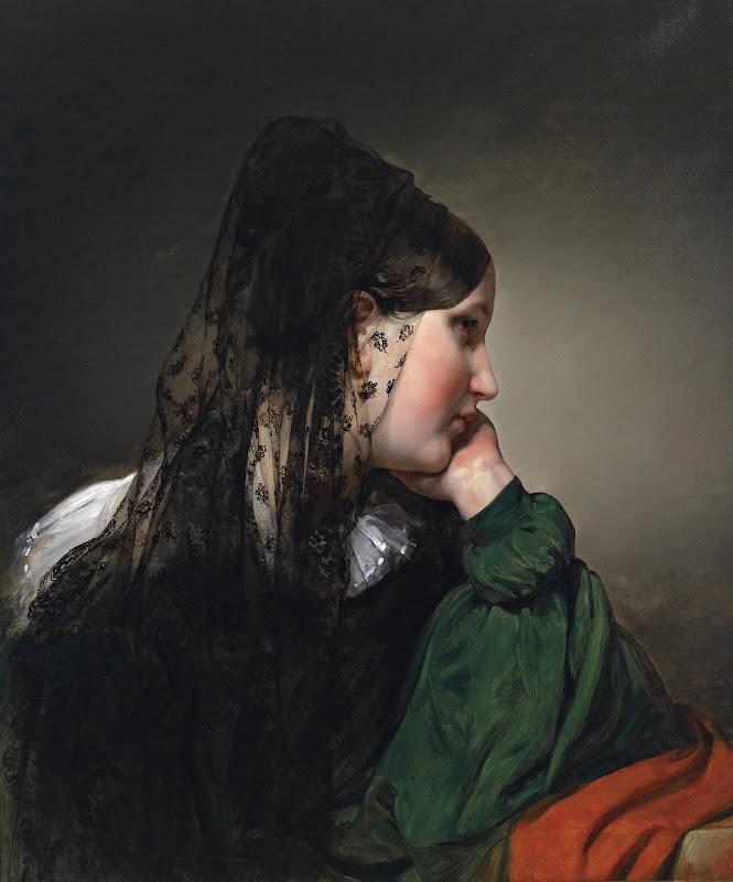 Friedrich von Amerling - Mädchen im Profil mit schwarzer Mantille