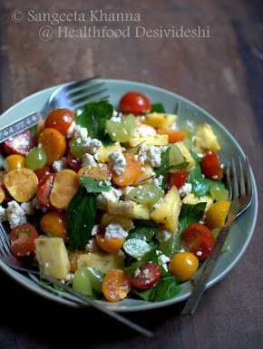 my fruity version of Insalata Caprese, more colors more and flavors to make a salad meal...