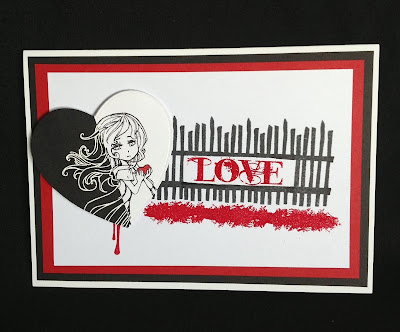 character stamp - love -gate -rose- ink drip- twilight- visible image stamps