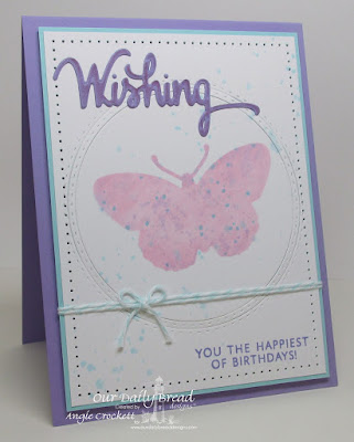 ODBD Custom Wishing Die, ODBD Custom Fancy Fritillary Dies, ODBD Wishing Words, ODBD Custom Double Stitched Circles Dies, ODBD Custom Circles Dies, Card Designer Angie Crockett