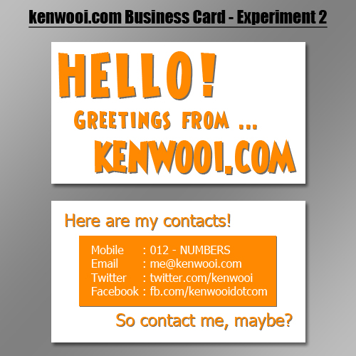 white orange namecard design