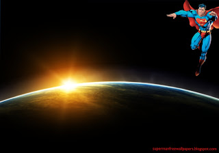 Wallpaper of Superman Flying in the Sky at Space Eclipse Desktop wallpaper