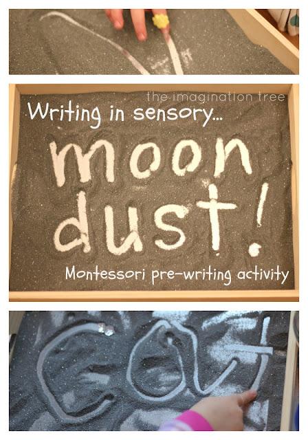 pre-writing montessori activity salt tray
