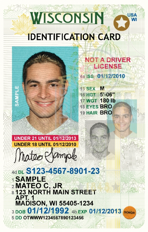 Kansas drivers license template for Wisconsin drivers license template