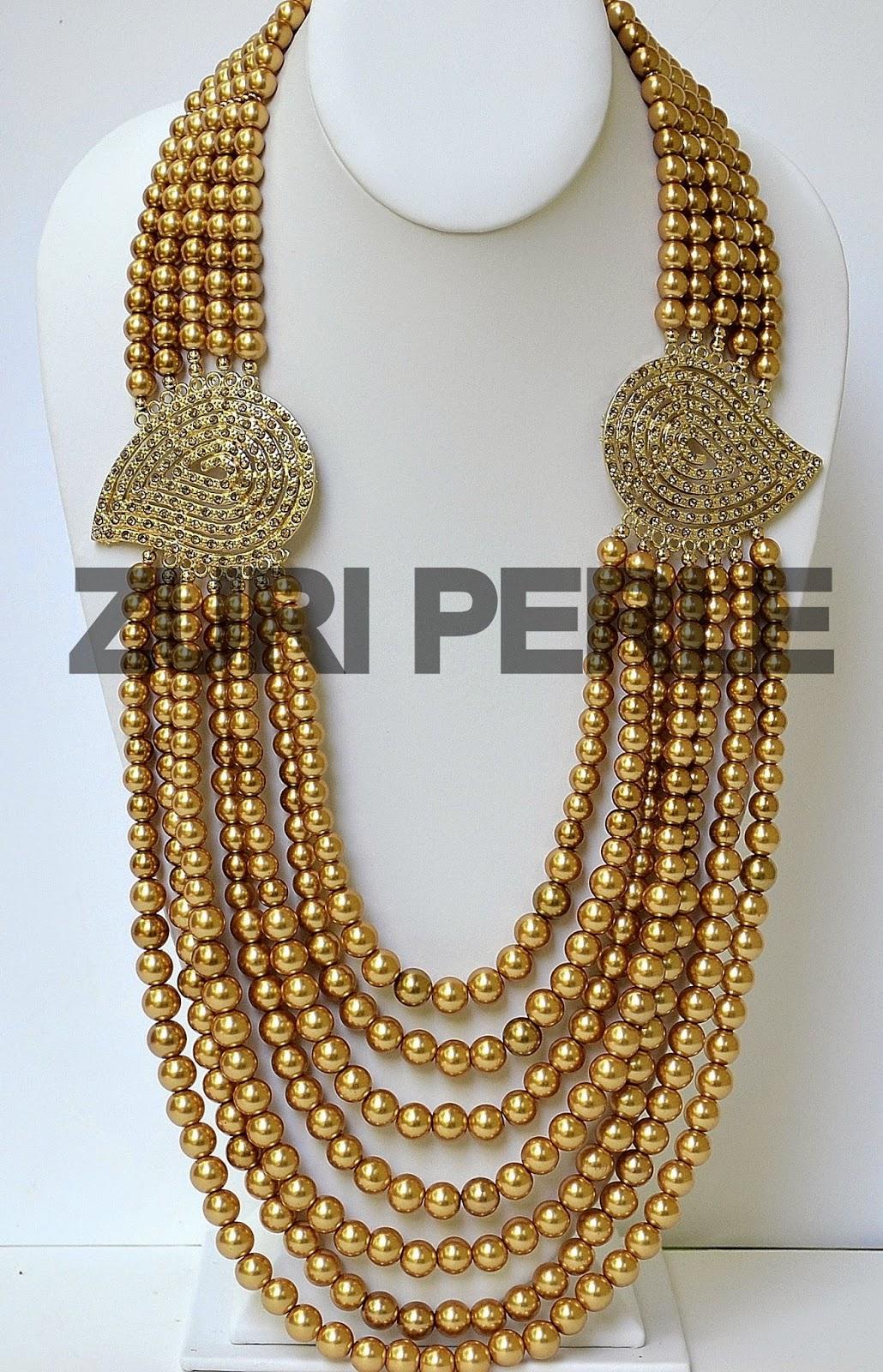 Gold pearls Zuri Perle necklace earrings bracelet