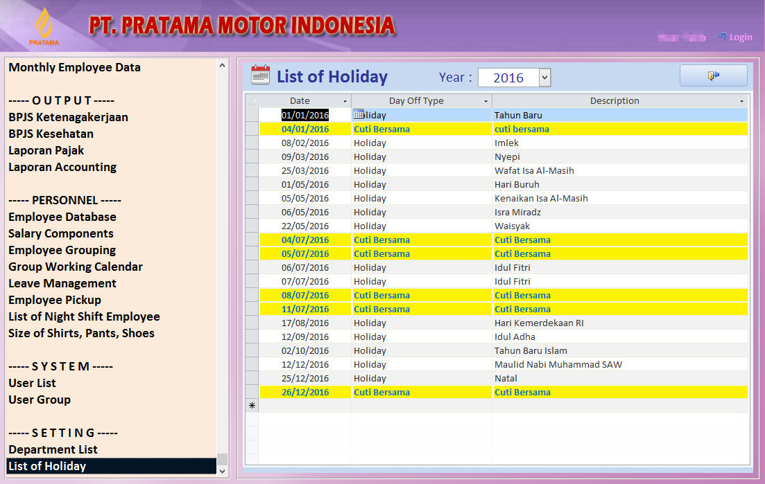 List of Holiday