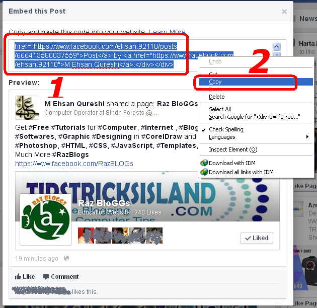 how to embed facebook post