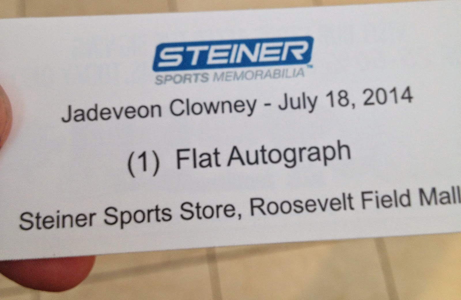 after going inside the steiner store at roosevelt field mall i identified myself as the contest winner and was given my