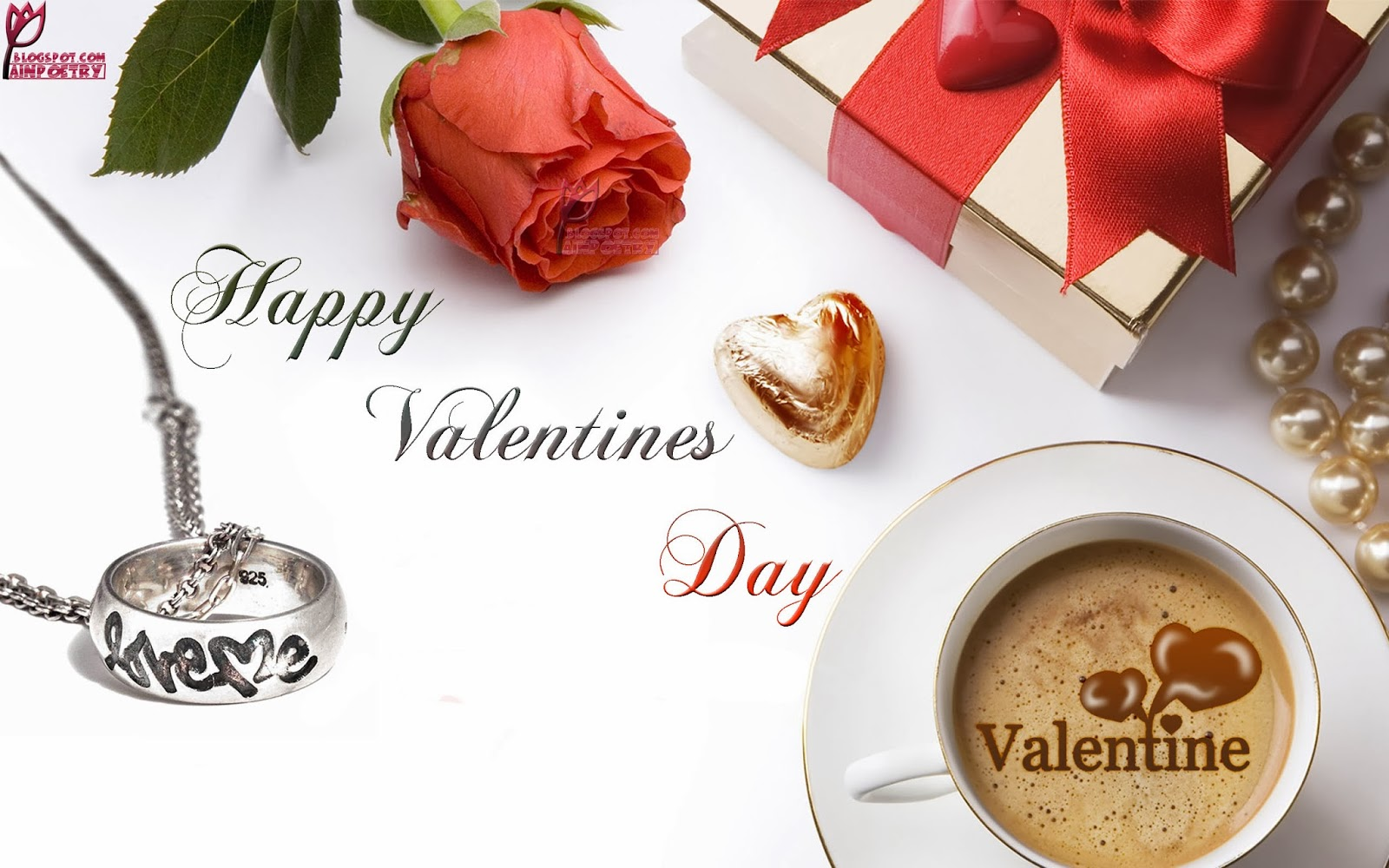 Happy-Valentines-Day-Wishes-Wallpaper-With-Flower-Gift-Tea-And-A-Heart-Image-HD-Wide
