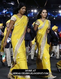 Sania Mirza in Yellow Saree
