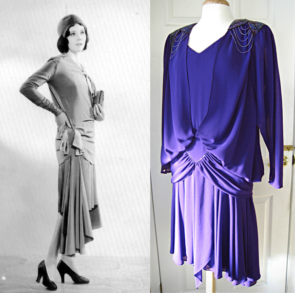 raquel torres, bias cut dress, violet dress, vintage dress, 30s style dress, beaded dress