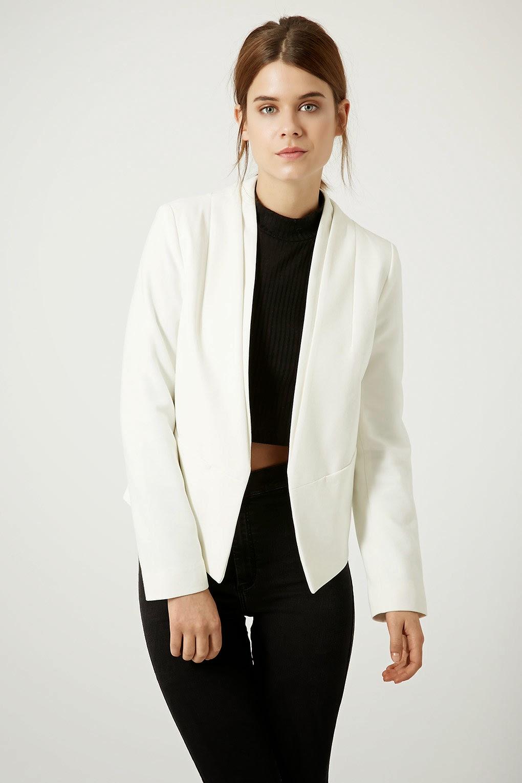 topshop cropped blazer white