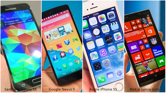 Galaxy S5 vs Nexus 5, iPhone 5S, Lumia Icon Specs Comparison Chart