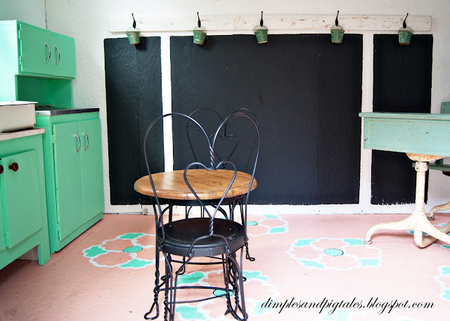 Chalkboard wall, vintage cafe set and mint green kitchen