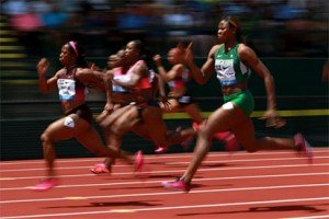 Blessing Okagbare in action