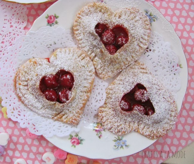 cherry pie filling in heart shaped pies
