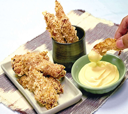 Sesame Encrusted Baked Chicken Tenders Recipe — Dishmaps