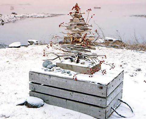 driftwood Christmas tree in Maine in winter
