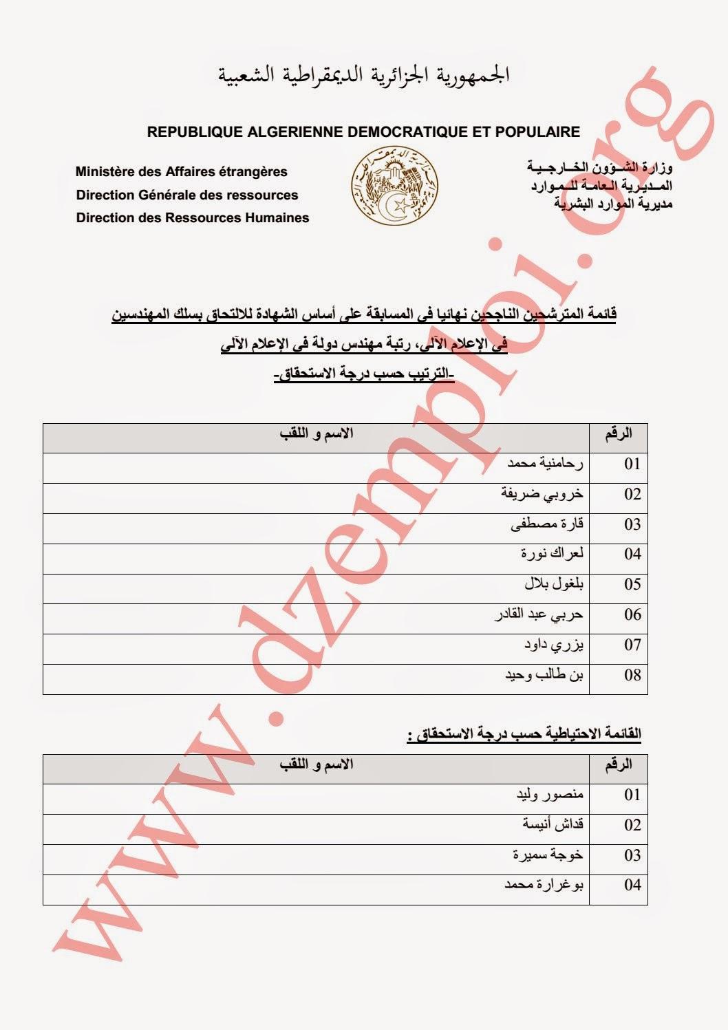قائمة المترشحين الناجحين نهائيا في مسابقة وزارة الخارجية الخاصة برتب الأسلاك المشتركة 2014 2.jpg