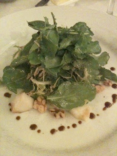 Fat Canary dish: Arugula and Frisée Salad with Pears, Old Chatham Camembert and Aged Balsamic