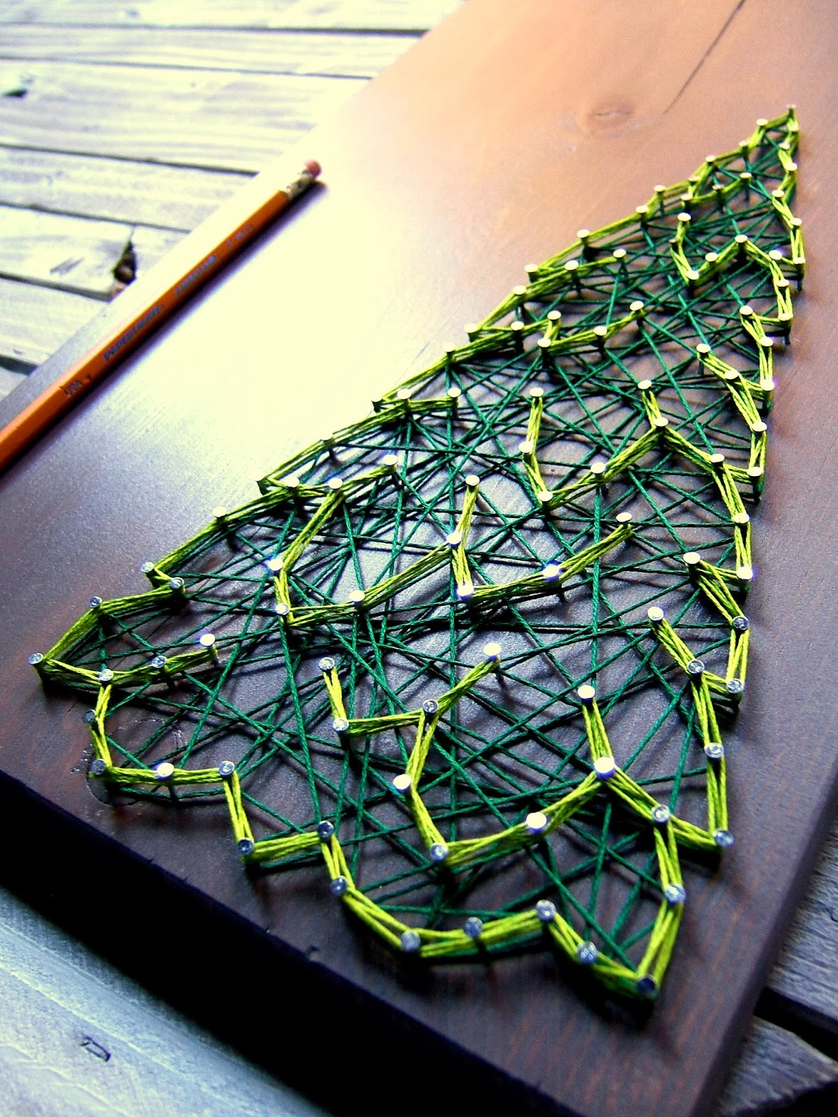 DIY Winter Evergreen String Art Pattern