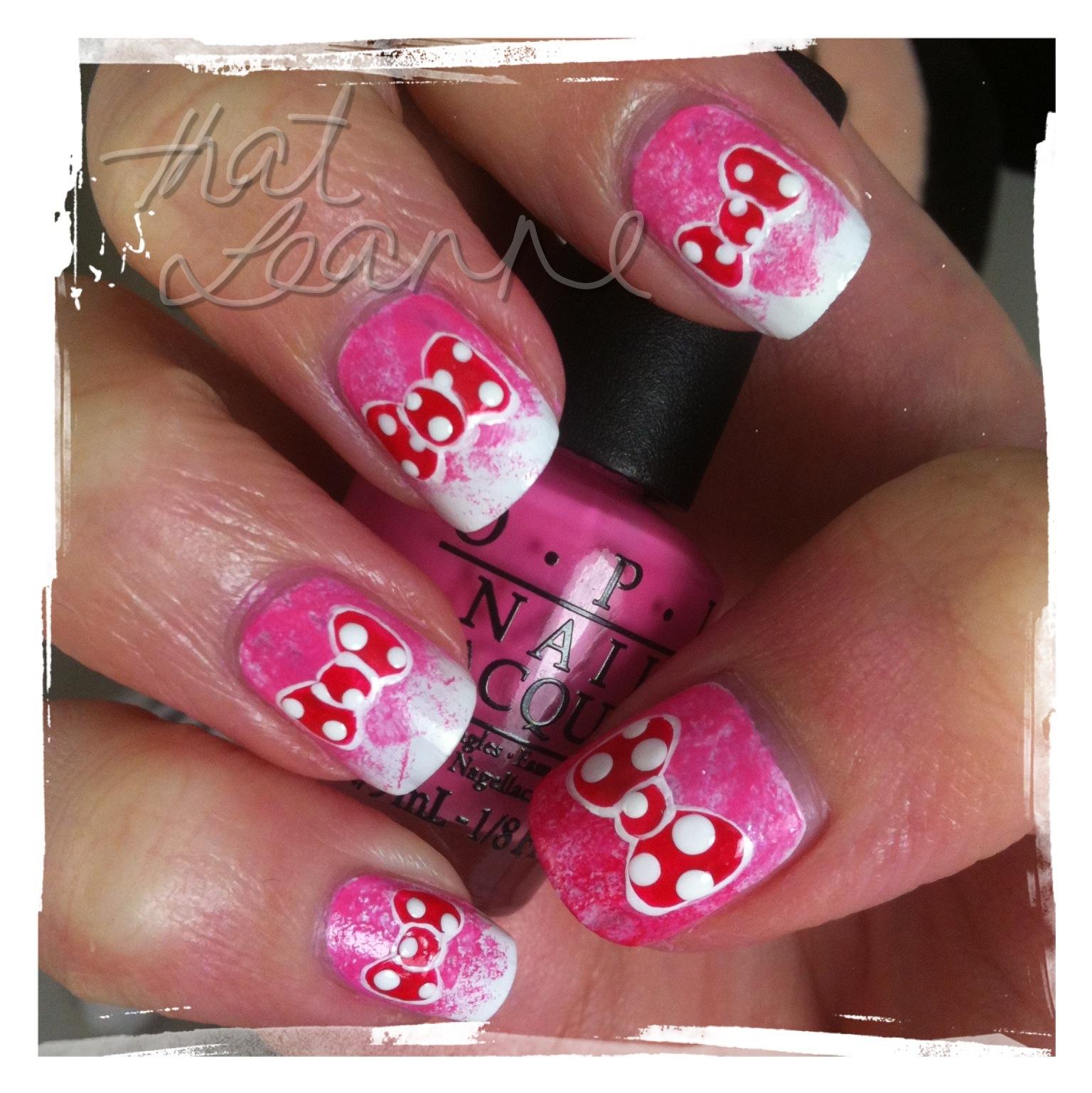 Minnie Mouse Bow Nail Art thatleanne: Minnie Mou...