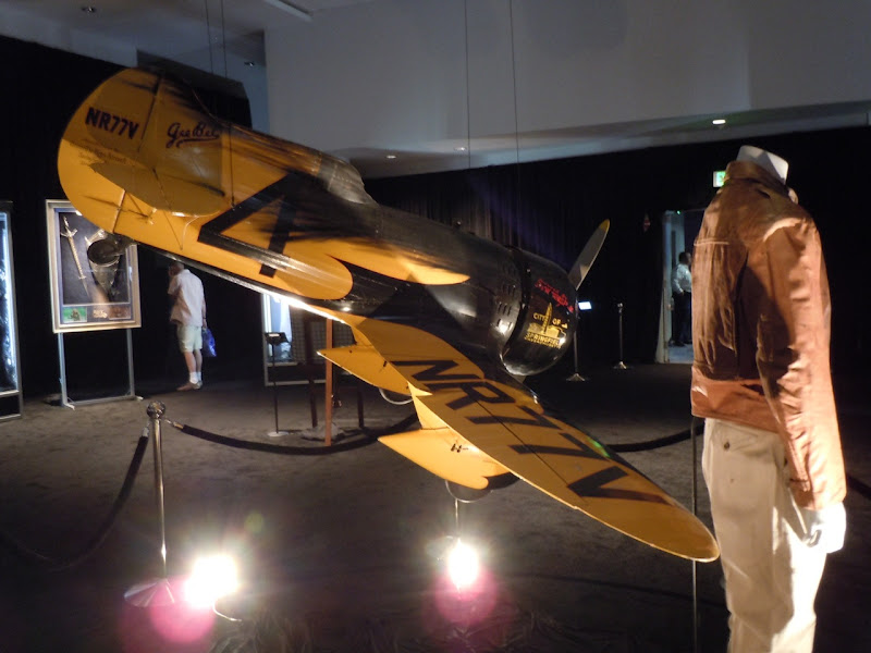 Cliff Secord costume and Gee Bee miniature airplane