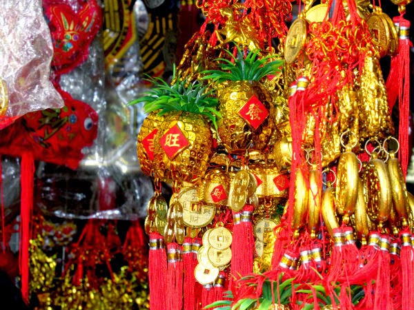 Chinese charms, chimes and mobiles are sold all over Chinatown