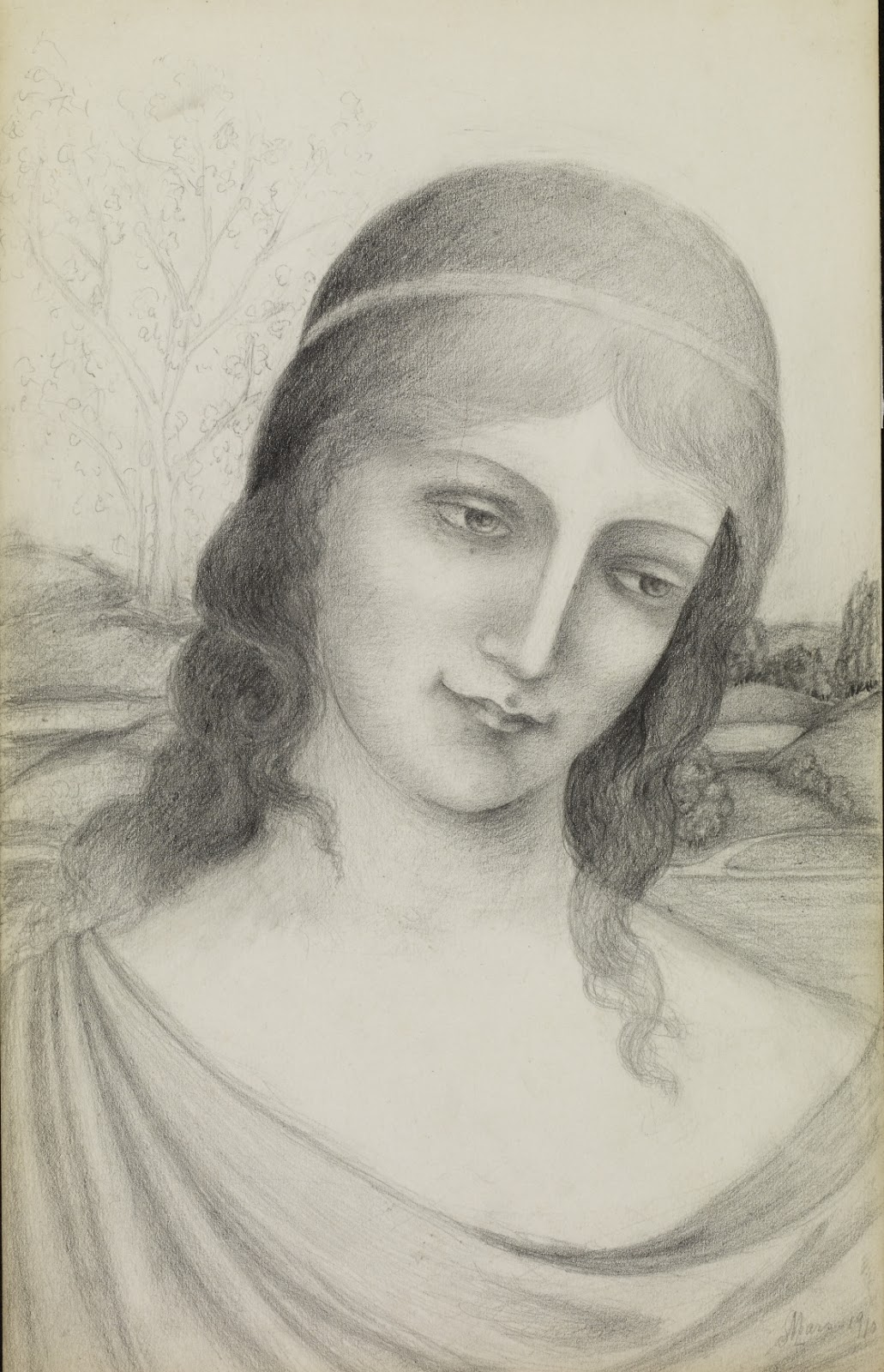 Armand Point Bust of a Maiden in a Landscape