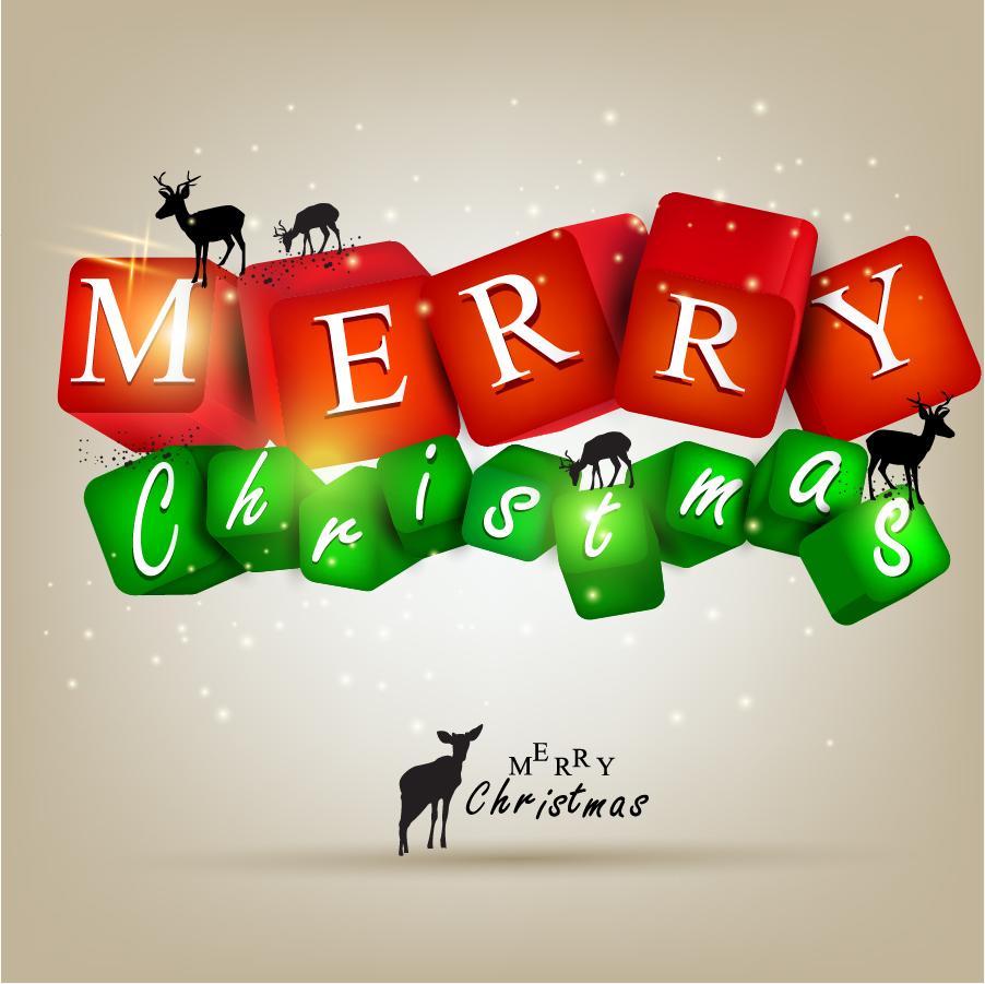 メリークリスマスのロゴとトナカイのシルエット gorgeous christmas elements background イラスト素材
