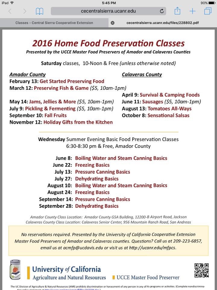 2016 Home Food Preservation Classes