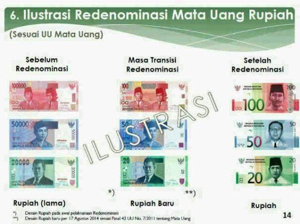 Inilah ilustrasi uang rupiah pada tahun 2014: