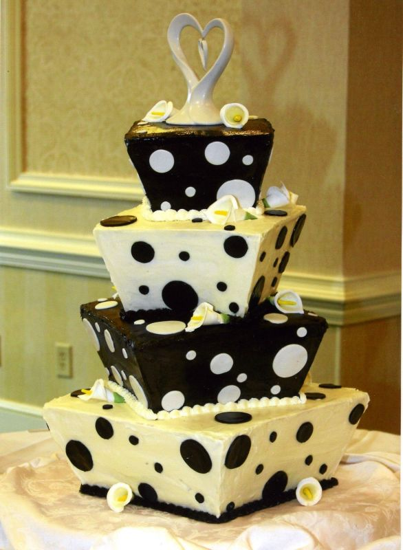 It carries significance in wedding event Black and white wedding cakes are