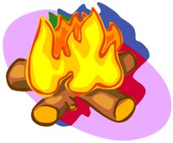 feu de cheminée avec des bûches (dessin)