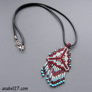 beaded pendant peyote triangle beadwork seed bead ethnic necklace tribal native american