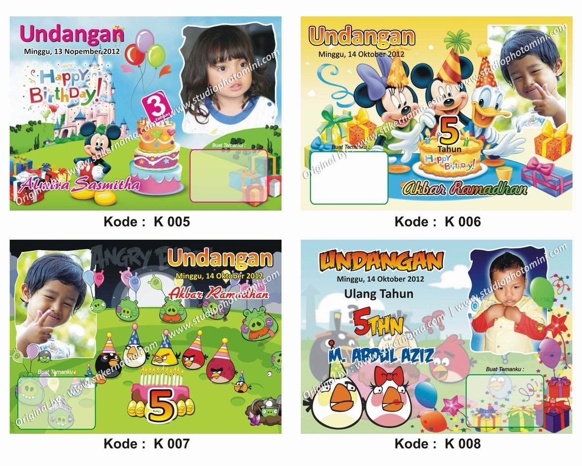 model frame kartu undangan ulang tahun anak new frame