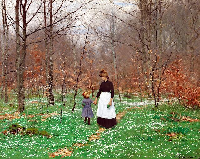 H.A. Brendekilde: Forår. De første anemoner.