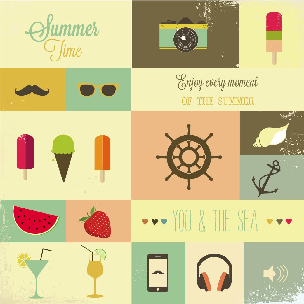 Summertime: Popsicles, sunglasses, fresh fruit, cocktails, the sea, ice cream, and everything wonderful.