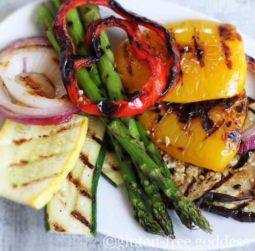 Beautiful grilled vegetables are gluten-free and vegan