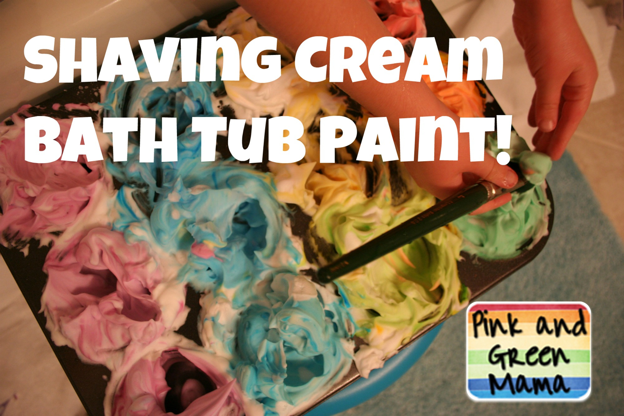 Pink and green mama shaving cream bathtub paint don 39 t for Shaving cream paint