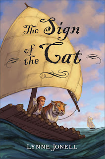 Book cover, The Sign of the Cat by Lynne Jonell. Image depicts a red-headed boy with a white kitten on his shoulder, next to a tiger on a log raft with billowing sail