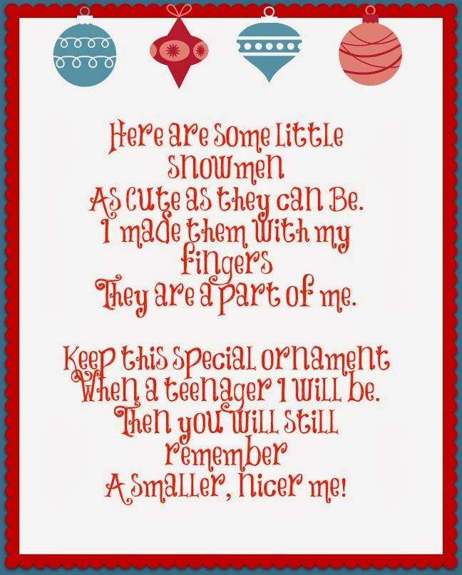 snowman handprint ornament poem printable Car Tuning